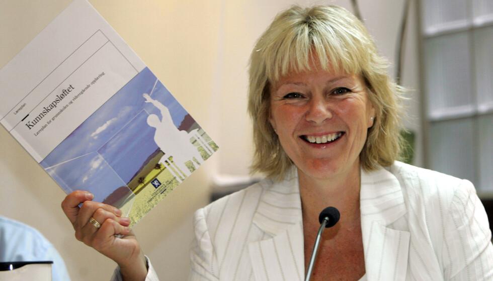 STATSRÅD: Kristin Clemet (H) var utdannings- og forskningsminister i 2001-05. Her fra presentasjonen av de nye læreplanene i forbindelse med gjennomføringen av Kunnskapsløftet. Foto: Knut Falch / NTB scanpix