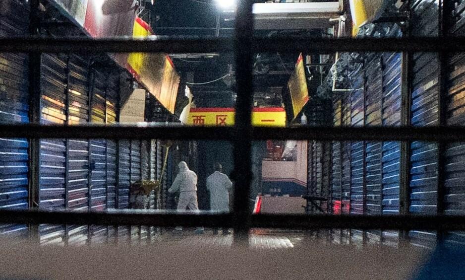MYSTISK VIRUS: Folk er engstelige i Wuhan, Kina etter at et mystisk virusutbrudd har krevd sitt første dødsoffer. Her leter etterforskerne etter spor på det stengte Huanan Seafood Wholesale Market i Wuhan, hvor det er trodd at virusets første dødsoffer skal ha kjøpt varer. Foto: AFP/NTB Scanpix