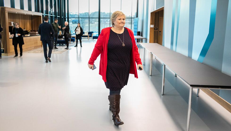 SAMLING: Partileder Erna Solberg oppildnet sine partifeller til innsats da hele Høyres partiapparat var samlet til konferanse på Sundvolden hotell i helga. Foto: Hans Kristian Thorbjørnsen