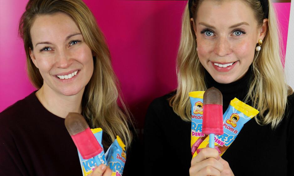 LIK SOM FØR: Marianne Grøtte og Eli Aurdal Flønes i Diplom-is med nyprodusert Kræsj Pink. Foto: Jonas Thorstensen