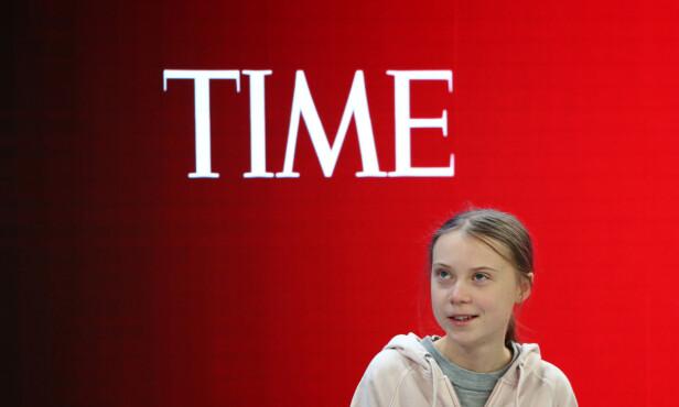 I DAVOS: Greta Thunberg på scenen i en paneldiskusjon under Verdens økonomiske forum tirsdag. Foto: NTB scanpix