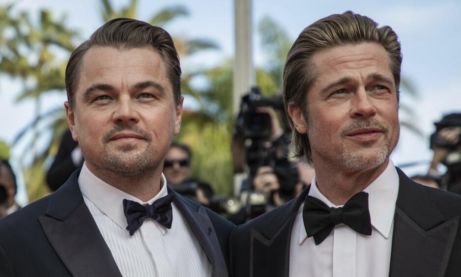 GODE VENNER: Brad Pitt og Leonardo DiCaprio fikk et godt forhold da de spilte mot hverandre i filmen «Once Upon a Time in Hollywood». Faktisk er de så nære at de har egne kallenavn på hverandre, kan Pitt nå røpe. Foto: NTB Scanpix