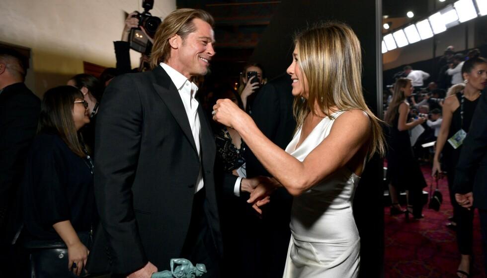 STJERNEMØTE: Disse bildene av Brad Pitt og Jennifer Aniston har fått enorm oppmerksomhet de siste dagene. Nå letter fotografen på sløret. Foto: Emma McIntyre, Getty / NTB Scanpix
