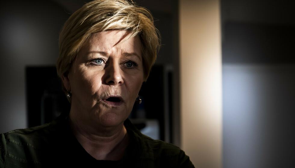 FRP OG FASCISMEN: Siv Jensens parti blir sammenlignet med fascistiske partier av en undervisningsportal med støtte fra Utdanningsdirektoratet. Foto: Lars Eivind Bones / Dagbladet