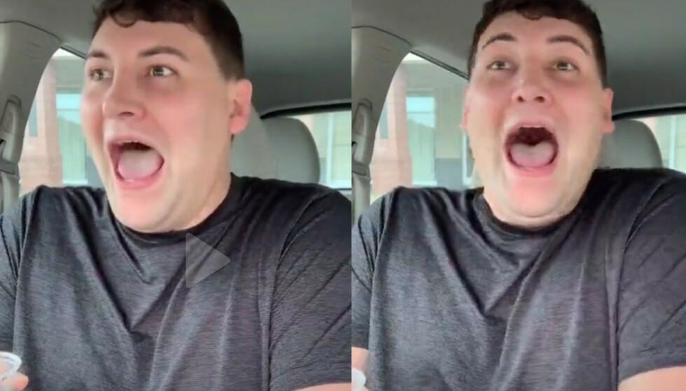 SJOKKERT: TikTok-brukeren Axl James mener han kan smake soyasausen via pungen sin. Skjermdump: TikTok