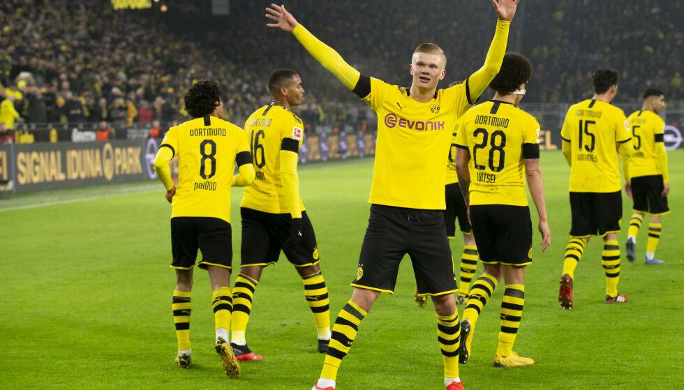STORSPILLER: Borussia Dortmunds Erling Braut Haaland feirer et mål, men det er ikke sikkert at han starter neste kamp. Foto: Svein Ove Ekornesvåg / NTB scanpix