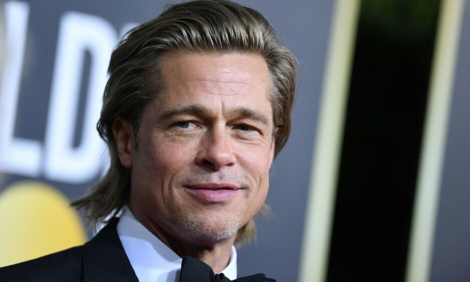 TINDER: Brad Pitt sa nylig at han måtte oppdatere Tinder-profilen sin. Men er han i det hele tatt på Tinder? Foto: NTB Scanpix