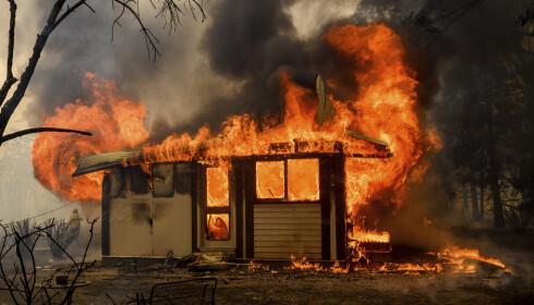 OVERTENT PÅ MINUTTER: En bygning i et knusktørt brannområde nær Bundanoon i New South Wales på vei til å bli lagt i aske. Skogbrannfaren har blusset opp igjen sørøst i Australia. Foto: Noah Berger, AP/NTB Scanpix.