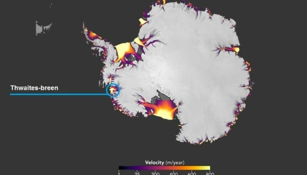 ISBRE: Her ligger isbreen som holder isen i Vest-Antarktis på plass. Foto: NASA Earth Observatory