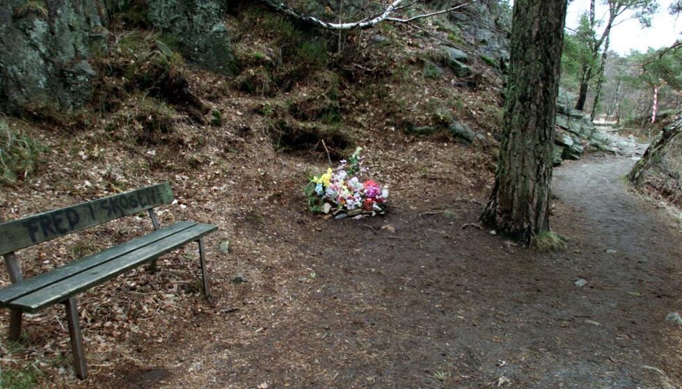 BANEHEIA: Bilder er tatt under rettssaken i 2001, under befaring i området der jentene ble drept. Her fra 2. Stampe i Baneheia, og veien de to drepte jentene skal ha tatt etter badet. Foto: Lise Åserud / SCANPIX Bildet er tatt ved