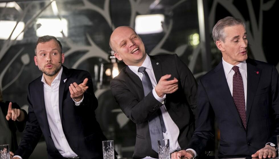 I SKVIS: Dagbladet er kjent med at Trygve Slagsvold Vedum mener alvor - han skal ikke sitte i regjering med SV og Audun Lysbakken etter valget. Foto: Vidar Ruud / NTB scanpix