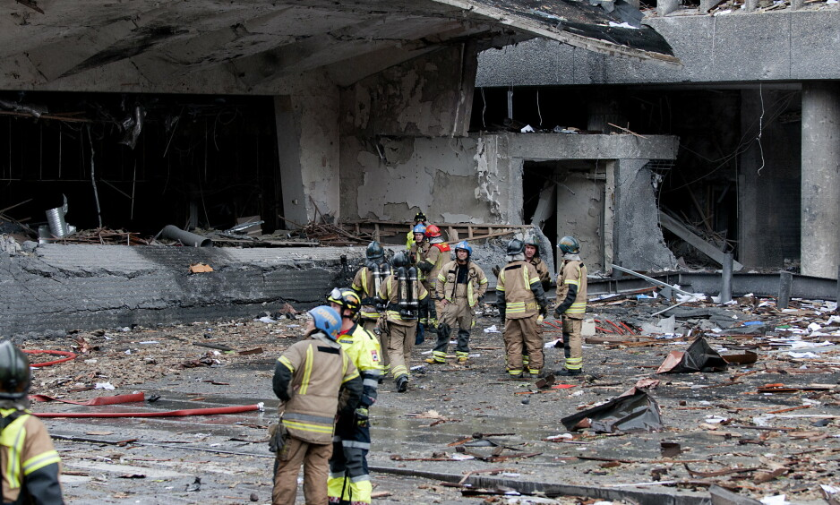 REGJERINGSKVARTALET 22. JULI 2011: Slik så det ut i Regjeringskvartalet etter at bomben hadde eksplodert 22. juli 2011. Foto: Øistein Norum Monsen