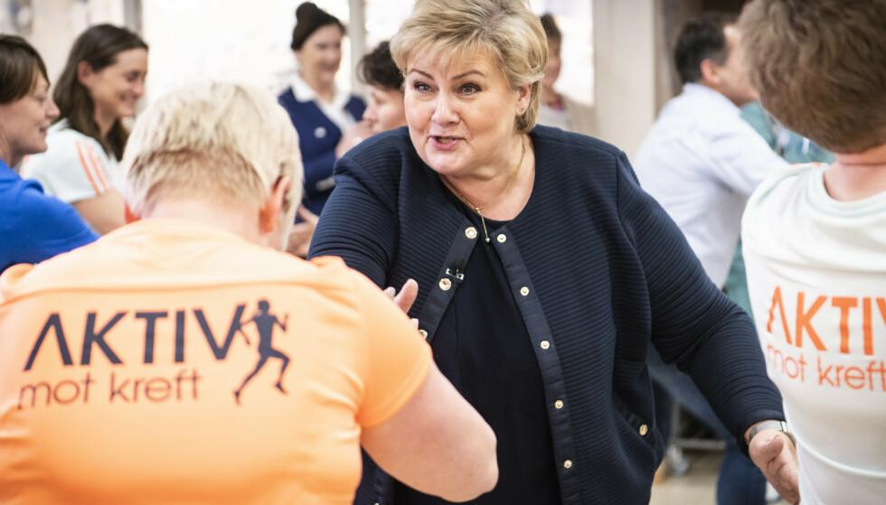 ER AKTIV: Statsministeren trener selv flere ganger i uka. Foto: Lars Eivind Bones.