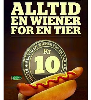 ALDRI MER: En wiener for en tier. Pressetalsmann i Cirkle K, Knut Hilmar Hansen, bekrefter at pølsa er borte for godt. Foto: skjermdump Statoil.