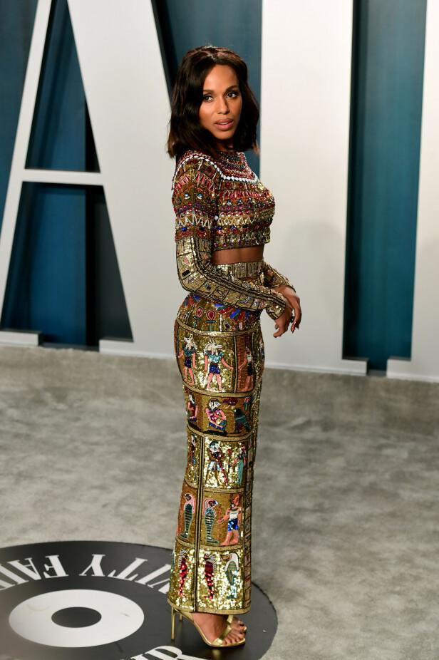 SETT: Skuespiller Kerry Washington hadde tatt på seg et egyptisk inspirert paljettsett. Foto: NTB Scanpix