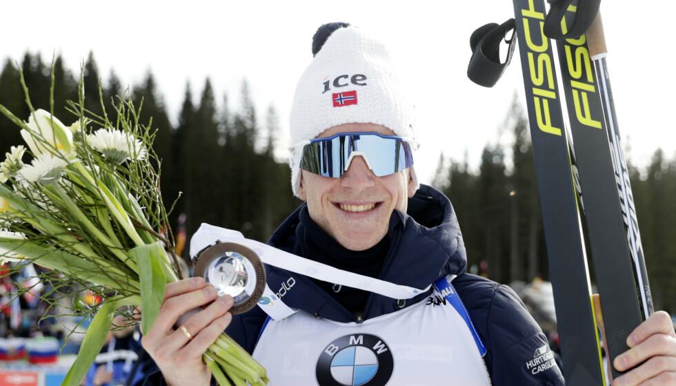 GÅR FOR GULL: Johannes Thingnes Bø er tilbake fra pappa permisjon og er klar for å kjempe om gull. FOTO: NTB/Scanpix