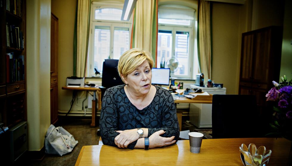 DET 15. ÅRET: Siv Jensen (50) er klar for å gyve løs på sitt femtende år som Frp-leder, og en ny periode på Stortinget fra 2021, 24 år etter at hun ble innvalgt første gang. Foto: Nina Hansen / DAGBLADET