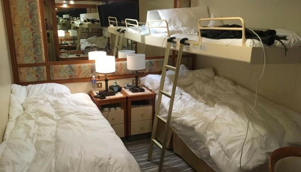 HOLDES HER: På lugarer som denne har flere av passasjerene om bord på cruiseskipet Diamond Princess tilbrakt de siste dagene. Bildet er delt på sosiale medier av en av passasjerene, ifølge Reuters. Foto: Sawyer Smith /via REUTERS / NTB scanpix