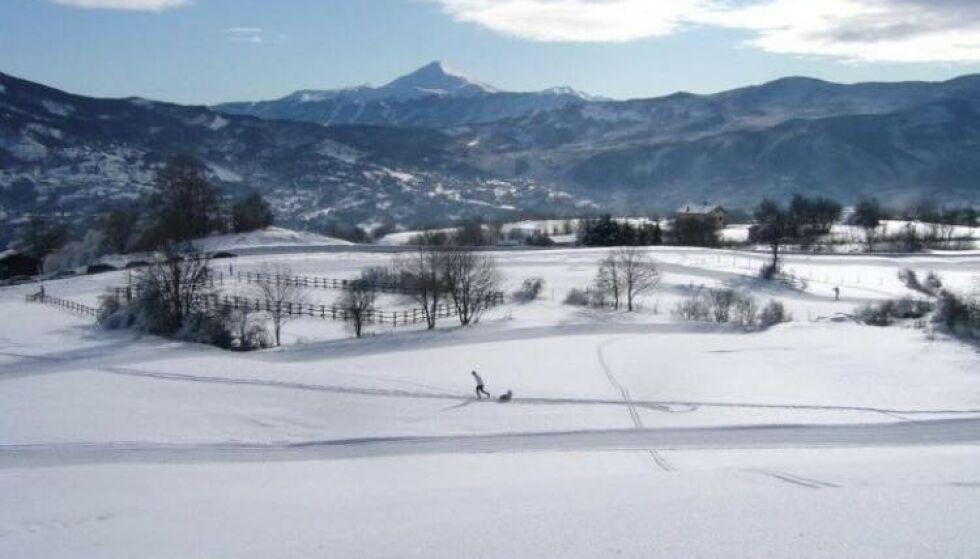 Smørernes landskap: I disse snødekte landskapene i og rundt Frassinoro lærte Manfredini opp Marcolini. Foto: Societa Sportiva Frassinoro