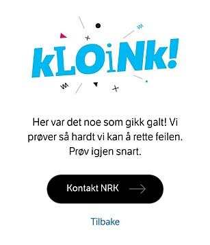 PROBLEMER: Som bildet viser, slet flere med å komme seg inn på hele nrk.no lørdag kveld. Foto: Skjermdump