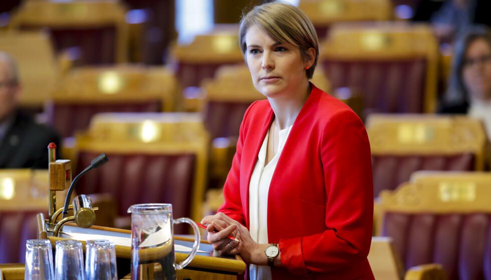 BEKSVART: Det er Kari Elisabeth Kaskis beskrivelse av budsjettet Norge skal styres på i 2021. Foto: Vidar Ruud / NTB scanpix