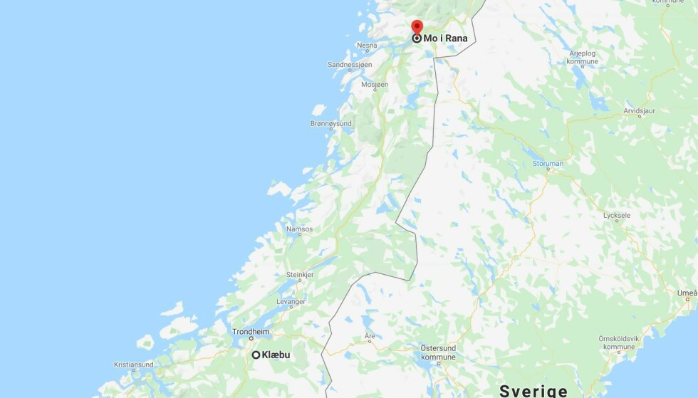 RINGTE NØDNUMMERET: 50 mil unna ringte Anders Strand til AMK-sentralen - for å hjelpe Cato som var 50 mil unna. Foto: Google Maps / Skjermdump