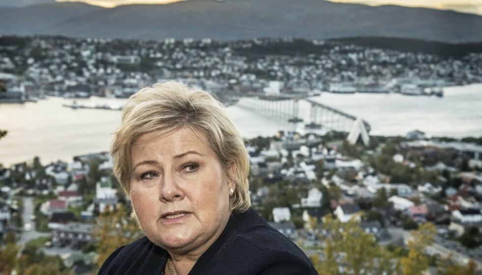 SLITER: Høyre-leder Erna Solberg sliter på målingene. Heller ikke hennes regjeringspartnere KrF og Venstre får noe løft av at Frp er ute av regjering. Foto: Hans Arne Vedlog