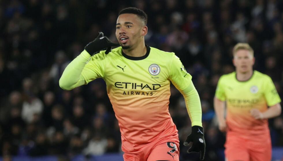 AVGJORDE: Gabriel Jesus kom inn og satte 1-0 mot Leicester. Foto: REUTERS / Eddie Keogh / NTB Scanpix