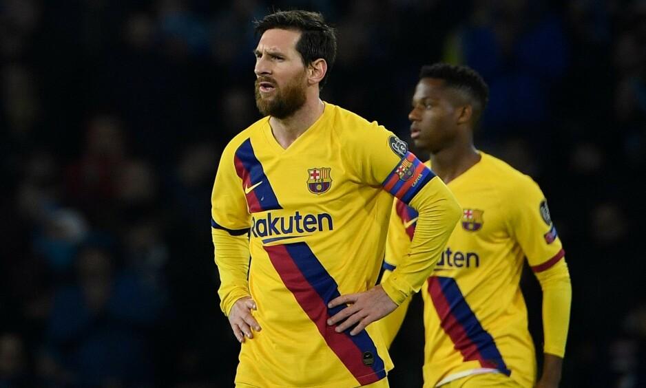 LØNNSKUTT: Lionel Messi opplyser at han og Barcelona-kollegene kutter 70 prosent av lønnen mens koronakrisen herjer klubben. Foto: Joan Monfort / AP / NTB scanpix