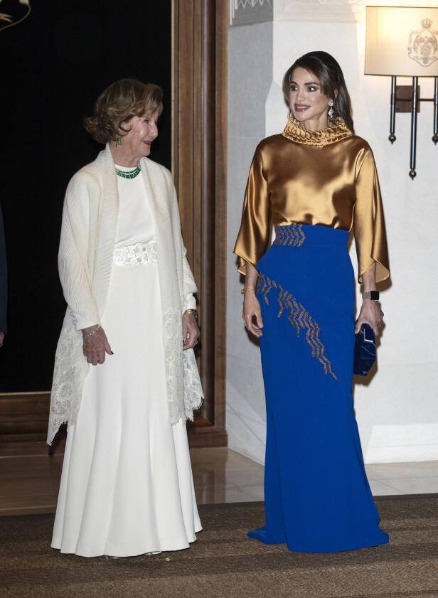 HYGGELIG TONE: Dronning Sonja og Dronning Rania skal ha en god tone. Foto: Andreas Fadum/ Se og Hør