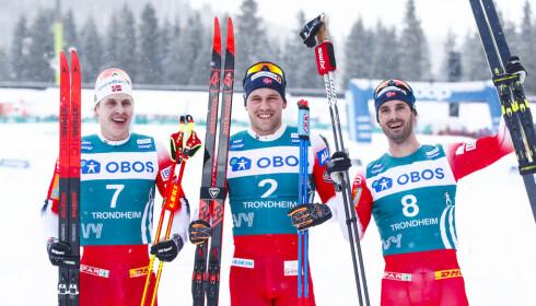 HERJING: Pål Golberg vant Ski Tour 2020 foran Simen Hegstad Krüger og Hans Christer Holund. Krüger er likevel usikker på om han støtter ytterligere kvotekutt. Foto: Terje Pedersen / NTB scanpix