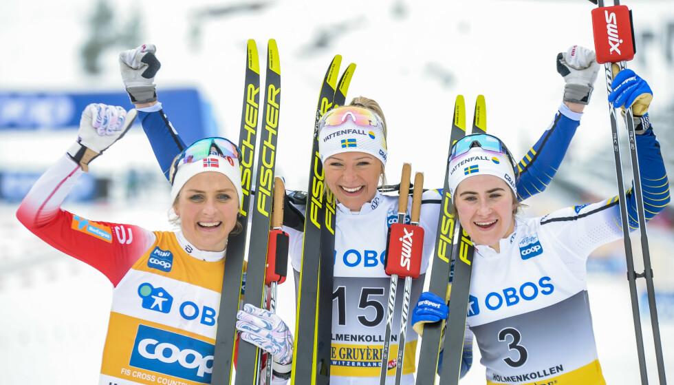 SVENSK SEIER: En perfekt seierspall for internasjonalt langrenn. Den norske skitabben gjør det lettere å både nivået til Therese Johaug og spenningen i sporten Foto: Annika Byrde / NTB scanpix