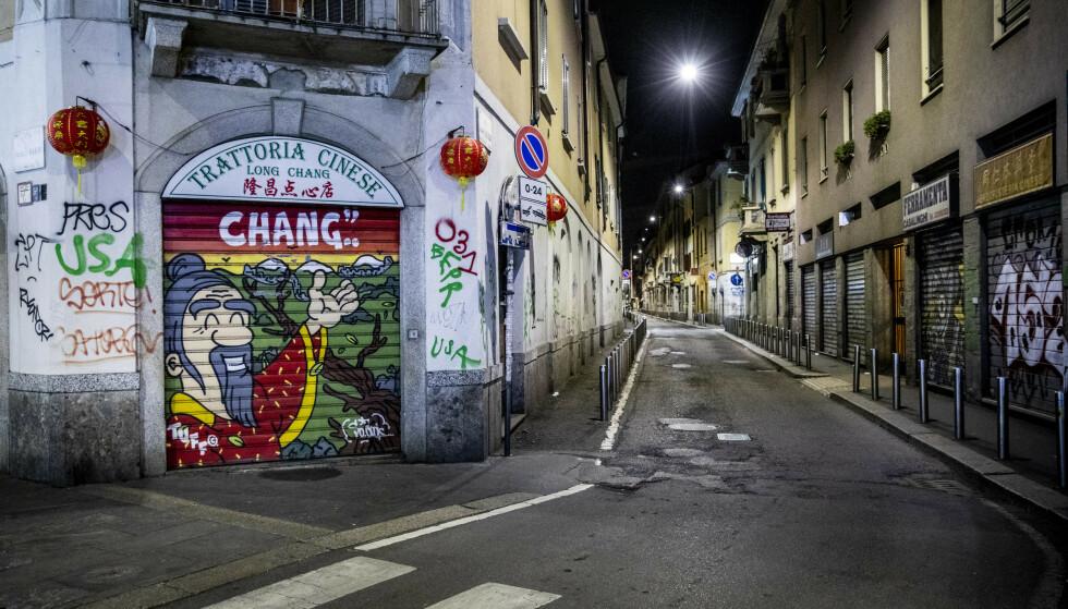 FOLKETOMT: Det var fullstendig folketomt da Dagbladet besøkte Chinatown i Milano i februar. Foto: Christian Roth Christensen / Dagbladet