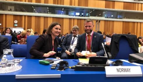 I ØSTERRIKE: Bent Høie delte selv dette bildet fra besøket i FNs narkotikakommisjon i Wien 2. mars.
