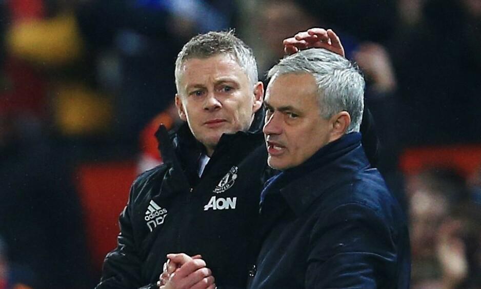 INGEN KAMP: Ole Gunnar Solskjær og José Mourinho skulle etter planen møtes søndag. Det blir det nå ikke noe av. Her fra forrige gang Manchester United og Tottenham møttes. Foto: NTB scanpix