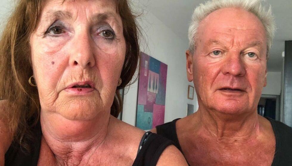 CORONAVIRUSET: Angela (65) og Jan (70) Nygaard sitter coronafast i en leilighet på Lanzarote. Mandag 23. mars skulle returflyet deres ha gått, men i dag ble det kansellert av Norwegian. Nå vet ikke ekteparet hvordan de kommer seg hjem. Foto: Privat