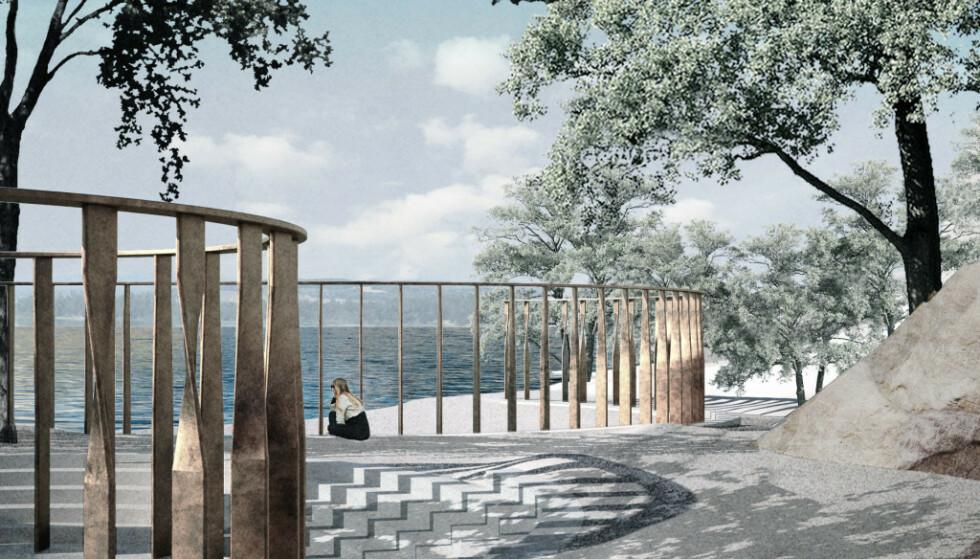 STORT: Tegningene viser det nye minnesstedet ved Utøykaia med 77 bronsesøyler som er rundt tre meter høye, til minne om de drepte. Illustrasjon: Manthey Kula Arkitekter / Statsbygg