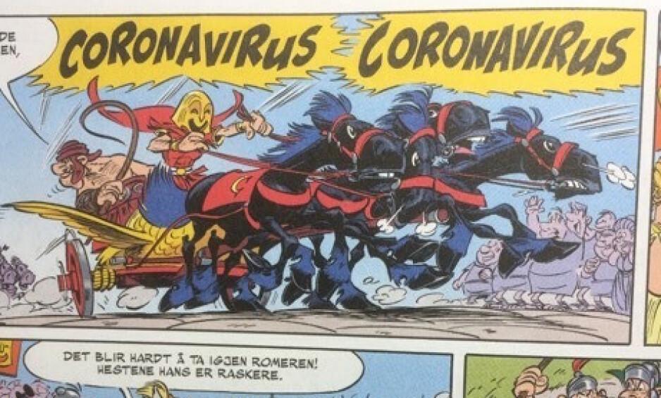 HERJER I ITALIA: I en utgave av tegneserien Asterix herjer en skurk ved navn Coronavirus i Italia. Foto: Jon Rognlien