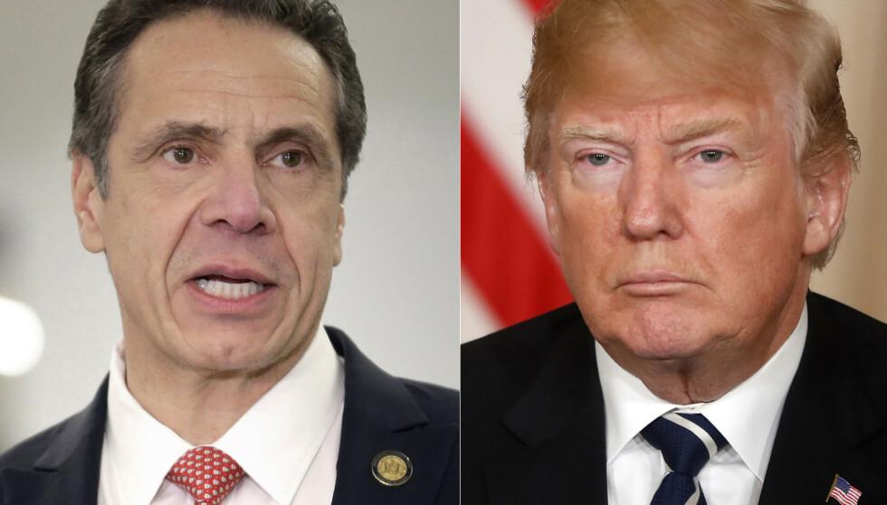 TO PRESIDENTER: New Yorks guvernør Andrew Cuomo er blitt en helt for mange på grunn av håndteringen av coronakrisen i USAs hardest rammede delstat. At han dessuten har stått opp mot Donald Trump, gjør at flere snakker om ham som en bedre presidentkandidat for demokratene enn Joe Biden. Foto: Seth Wenig / AP / Pablo Martinez Monsivais / NTB Scanpix