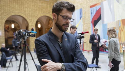 GRØNN GASS: Rødt-leder Bjørnar Moxnes ber om at regjeingen trykker inn den grønne gasspedalen for industrien. Foto: Terje Bendiksby / NTB Scanpix