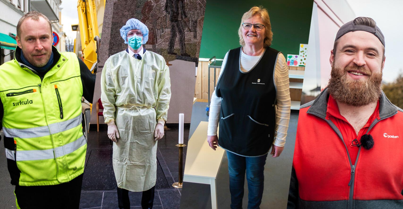 «DE USYNLIGE»: Renovatør Gatis Kantans, gravferdskonsulent Henrik Tveter, renholder Gerd Lunde og postbud Even Hermansen.