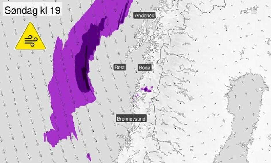 SNØ: Det er sendt ut gult farevarsel for stort snøfall i Trøndelag søndag kveld. Foto: Meteorologisk institutt.