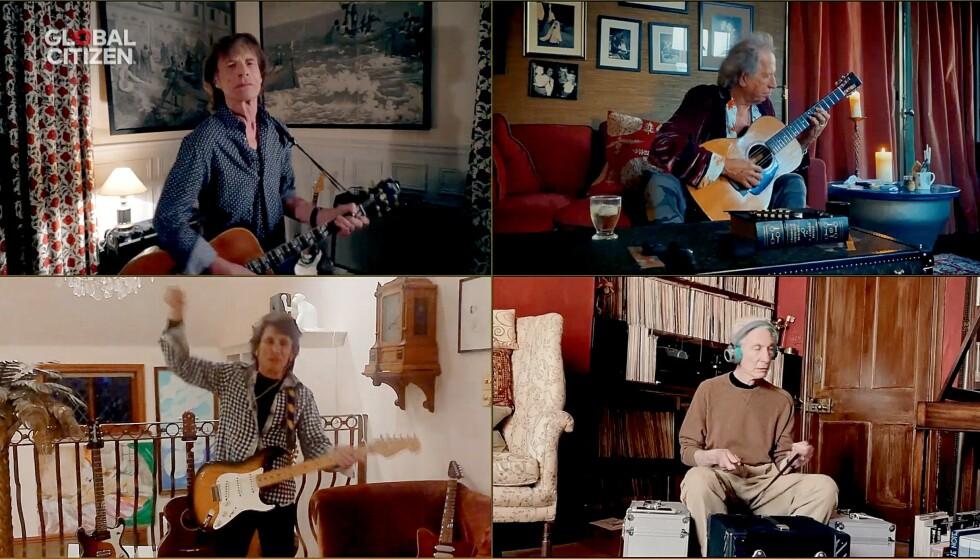 SOSIAL DISTANSERING: Rolling Stones, Mick Jagger, Keith Richards, Ronnie Wood og Charlie Watts, var noen av stjernene som opptrådte under nattas store konsert. Foto: Getty Images/Getty Images for Global Citizen /AFP