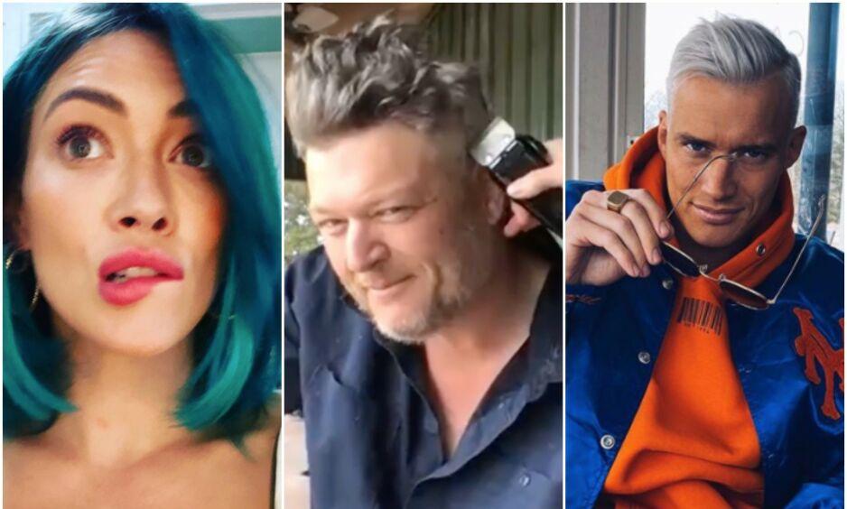FORANDRING FRYDER?: Med stengte frisørsalonger har kjendisene blitt nødt til å ta saken i egne hender. Ikke alle blir fornøyd med resultatet, derimot. Foto: Skjermbilder fra Instagram
