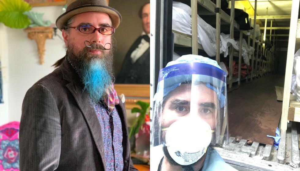NY HVERDAG: Til venstre er Erik Frampton på jobb som rammemaker. Til høyre står han foran en av de midlertidige likhusene i New York. Foto: Privat