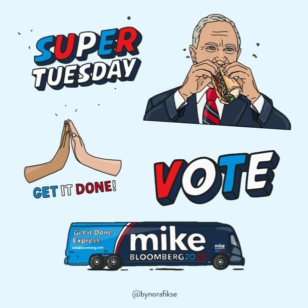 MIKE BLOOMBERG: Nora Fikse fikk tilbud om et oppdrag der hun kunne lage GIFs for valgkampen til Bloomberg i USA. Foto: @bynorafikse