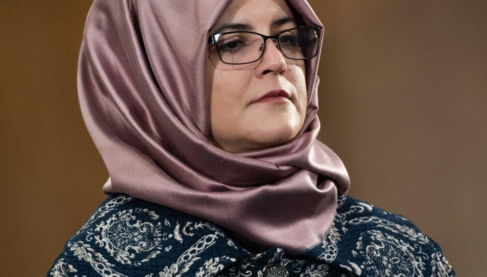 ADVARER: Drepte Jamal Khashoggis forlovede, Hatice Cengiz. Foto: SAUL LOEB / AFP