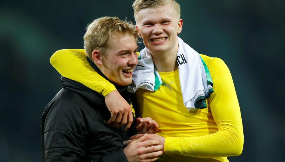TILBAKE: Borussia Dortmund-duoen Julian Brandt og Erling Braut Haaland kan juble over at Bundesliga er tilbake om ni dager. Foto:  REUTERS/Wolfgang Rattay/NTB Scanpix