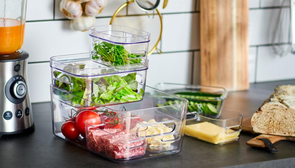 SMARTE BOKSER: Oppbevaringsbokser kan brukes til matrester eller til å lagre ulike typer mat.