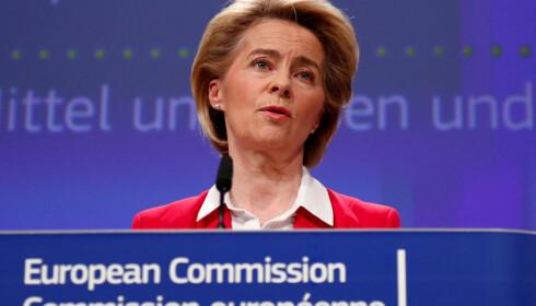 KRONERULLING: Europakommisjonens president Ursula von der Leyen ledet innsamlingen for corona-bekjempelse 4. mai. Her fra en tidligere pressekonferanse. Foto: Reuters